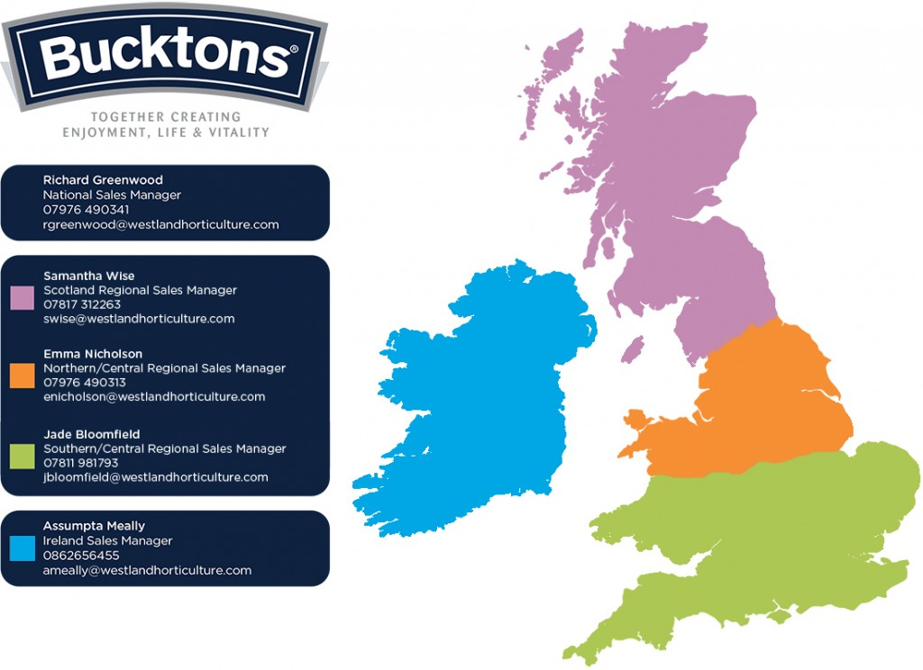 Bucktons Sales Representatives Map